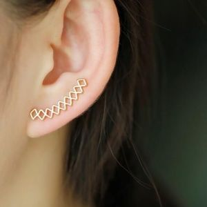 Gold Geometric Crawler Studs Ear Cuff Earrings
